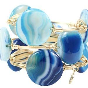 BB Aquamarine Crystal Gemstone Wire Bracelet